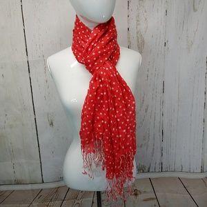 Target brand polka dot scarf with fringe pink